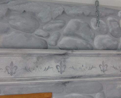 Borte Steinwand grau